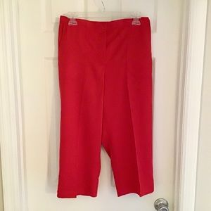 Alfred Dunner Classic Fit Red Capri Pants